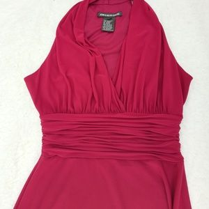 Classic Jones Wear Red Ruched V Neck Dress Size 8